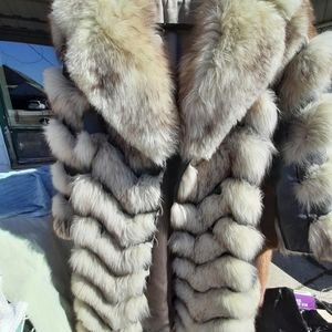 Fox and leather vintage fur coat made in canada